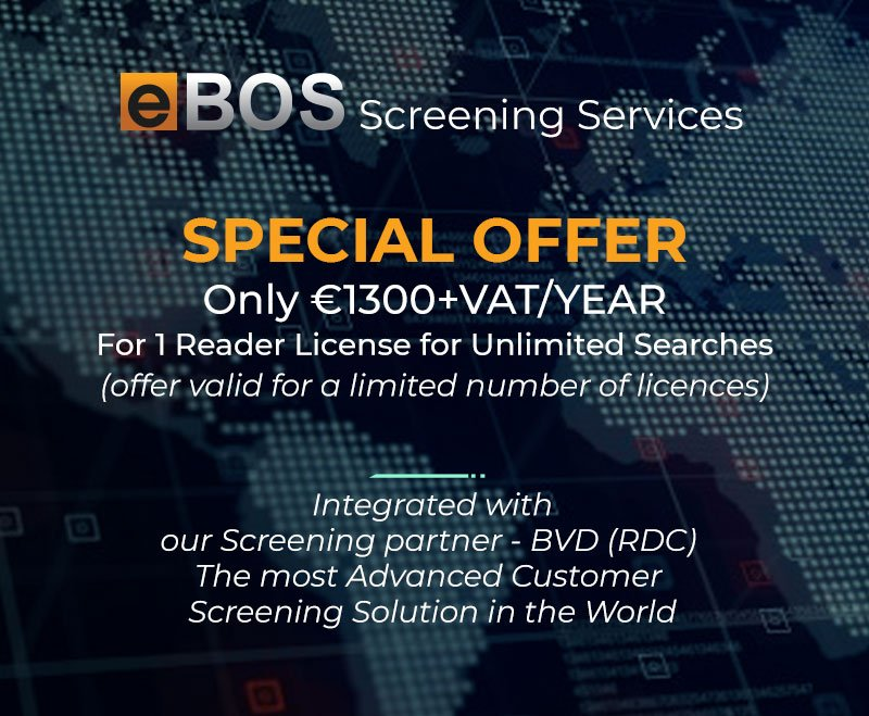 Screening services by eBOS. Special Offer for 1 Reader License for Unlimited Searches